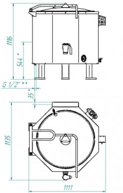 Котел пищеварочный Abat КПЭМ-250 шестигранный - фото 1