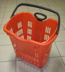 Пластиковая покупательская корзина на колёсах